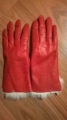 Women's Vintage Leather Gloves / Angora Rabbit Fur Lined /Red / Sz small