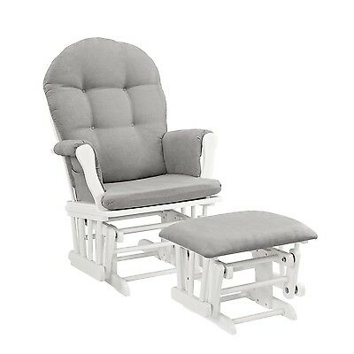 Windsor Glider and Ottoman White with Gray Cushion White and Gray New