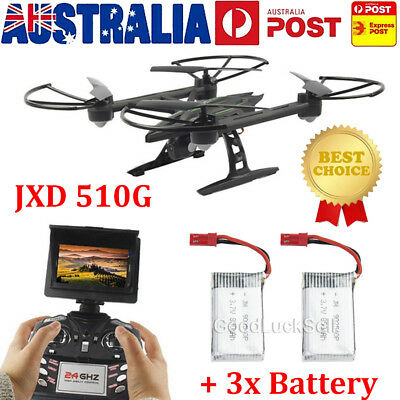 JXD 510G RC Drone Quadcopter W/ Monitor Camera 5.8G FPV Altitude Hold+3x Battery