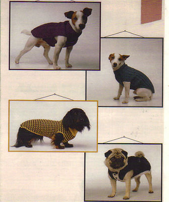 4 x easy knit DOG COATS knitted in 8 ply   PATTERN. ONLY