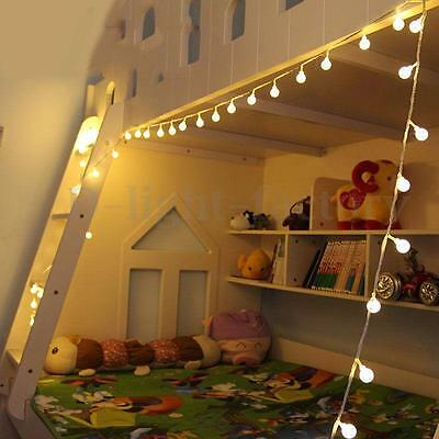 10m 100LED Lights Warm White Ball String Fairy Lamp Wedding Party Bedroom Decor