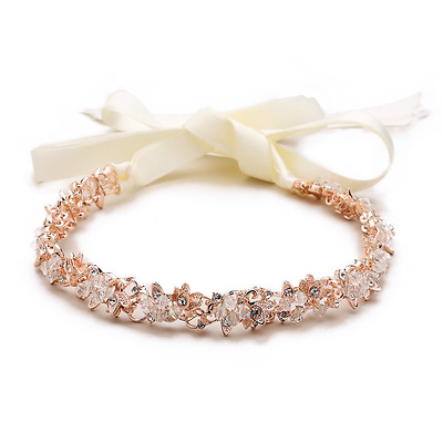 Mariell Rose Gold Crystal Cluster Bridal Wedding Headband Hair Vine - Ivory Ribb
