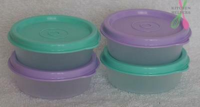 Tupperware Snack Cup Mini Blue & Purple x 4- 70ml -New-Great for lunch boxes