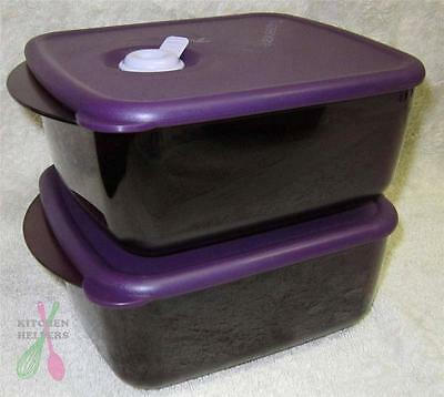 Tupperware Heat N Eat 1 Litre -Set of 2 - Purple Microwave Containers- Brand New