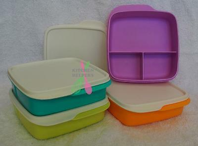 Tupperware Sandwich Keeper Small Divided Lunch Box set of 2 choose colour- New
