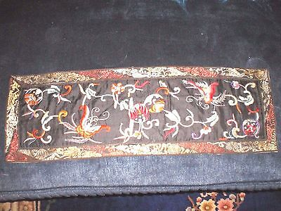 Pretty Old Chinese Silk Embroidered w/Butterflies & Spheres Panel Wall Hanging
