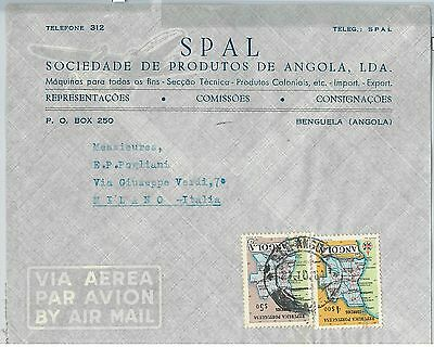 62367  -  ANGOLA - POSTAL HISTORY:   COVER to ITALY 1961 - MAPS