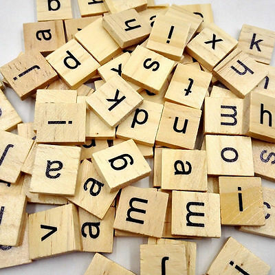100Pcs/Lot Wooden Alphabet Scrabble Tiles Mixed Black Letters Numbers Craft Wood