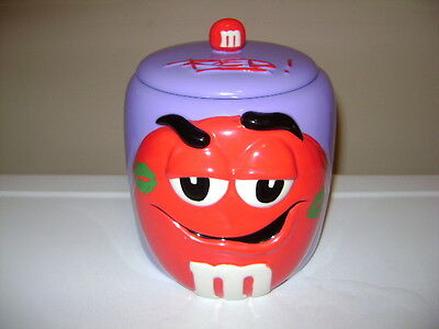 M&M's RED ON PURPLE m&m COOKIE CANDY JAR.