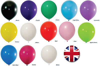 COLOR LATEX PLAIN BALLON helium AIR Quality Birthday Wedding BALOON RIBBONS 100