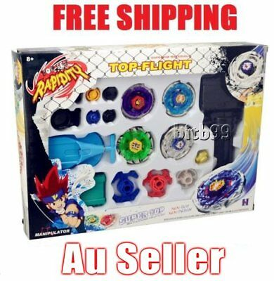 Hot 4D Fusion Top Metal Master Rapidity Fight Rare Beyblade Launcher Grip Set WK