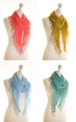 Ladies Jersey Lace Triangle Triangular Scarf Shawl Teardrop Sparkle Diamante
