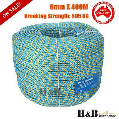 Telstra Rope 6mm x 400M Parramatta Coils Breaking Strength Tested 595KG T8245