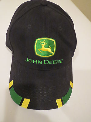 John Deere Trucker Strapback Baseball Cap Hat Black With Green & Yellow Logo