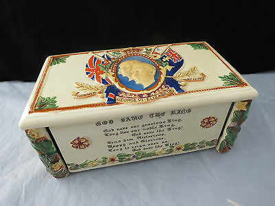 Rare Fielding's Crown Devon George VI Coronation Musical Cigarette Trinket Box