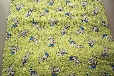 Vtg  Cotton SCOTTIE DOG Plisse Puckered 1930's sewing Fabric 2 + yards NOVELTY