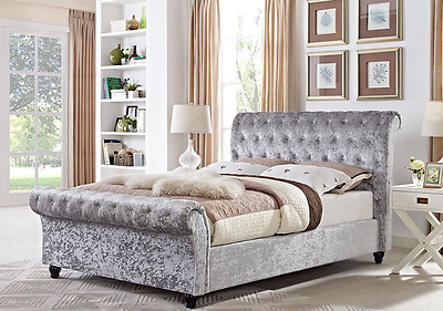 Chesterfield 4Ft6 Double Sleigh Designer Bed In Silver Crushed Velvet