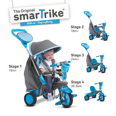 Smart Trike Swing Blue/Grey Baby Toddler 10 Months + 4 in 1 Tricycle Stroller