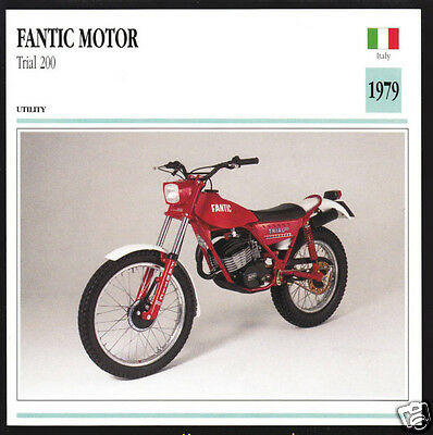 1979 Fantic Motor Trial 200 Type 350 (160cc) Italy Motorcycle Photo Spec Card