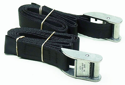 2-pack of 1.0m TOUGH Cam Straps Black - Small Cargo Tie-down Lashing Straps