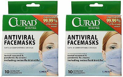 2 Pack of Curad® Antiviral Medical Face Mask, Pleated, 10/Box. Includes 2