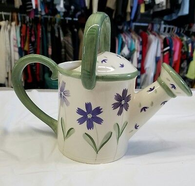 """Hand Painted Ceramic Watering Can, Purple Floral 7 1/2"""""""