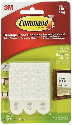 3M Command Medium Adheisive Strips Damage Free Wall Picture Poster Hanging 17201