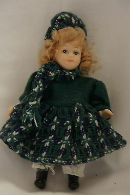 Mini Porcelain Doll Jointed Green Dress Blonde 5 1/4""