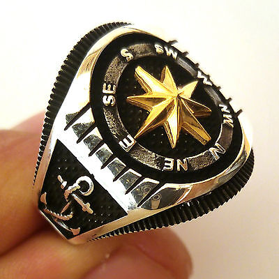 Compass, Oxidized Turkish 925 S. Silver Men's Ring Sz 11 us #0708 free resize