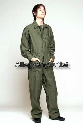 USGI Military OD Cotton COVERALLS Zipper, Touch Fasten, or Button Many Sizes NEW