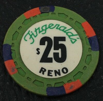 Fitzgerald's $25 Casino Chip Reno Nevada Sm-Crown Mold 1976 FREE SHIPPING