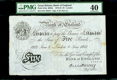 1922 GREAT BRITAIN 5 POUNDS BANK OF ENGLAND LONDON NOTE KP # 312a PMG XF 40