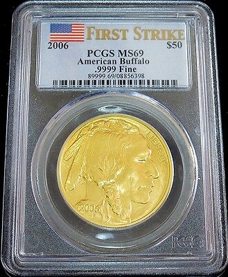 2006 Gold Us Buffalo $50 Dollar 1 Oz  Coin Pcgs Mint State 69 First Strike