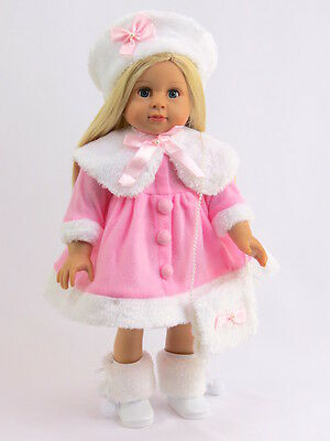 "Pink and White Fur Dress Fits 18"" American Girl Doll Clothes"