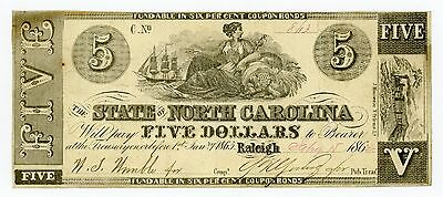 1862 Cr.85 $5 The State of NORTH CAROLINA Note - CIVIL WAR Era