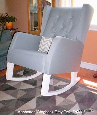 Manhattan Wingback Nursery Rocker Rocking Chair baby & mom GreyTwill