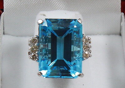 Estate Vintage 26.41TCW Fine Emerald Cut Blue Topaz & Round Diamond Ring 14K WG