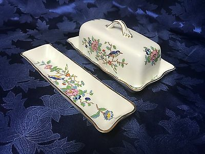 """Beautiful Aynsley """"Pemboke"""" Covered Butter Dish and Knife Tray Set"""