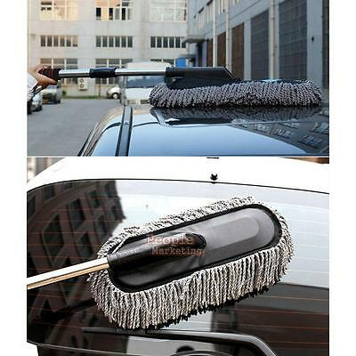 Microfiber Car Wash Cleaning Brush Duster Dust Wax Mop Telescoping Dusting Tool