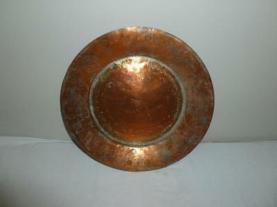 "Vintage Mexican Arts & Crafts Hand Hammered Large Copper 16"" Tray"