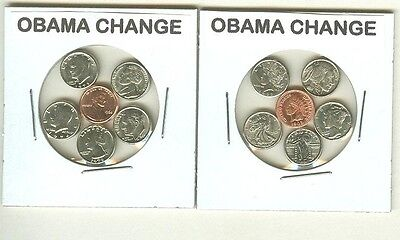 Obama Change - 10 Mini Coin Sets - 5 Of Each Type.