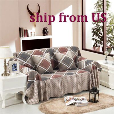 Nice Checked Linen Blend Slipcover Sofa Cover tUSl Protector for 1 2 3 4 seater