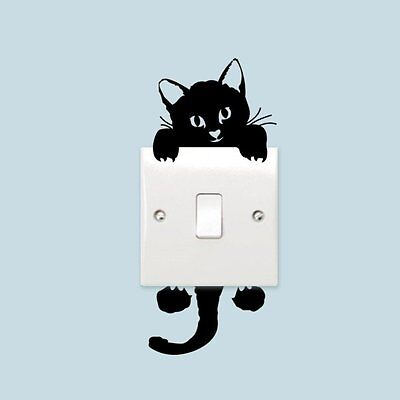 Removable Vinyl Art Wall Sticker Decals Black Cute Cat Light Switch Decal home