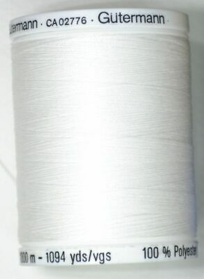 Gutermann Sew-all Thread 1000m Colour 800, WHITE, 100% Polyester, 10 Pack