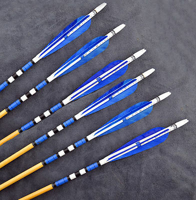 6pcs Blue Traditional wooden arrows With Turkeys feather For Practice