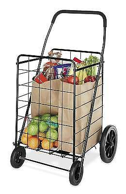 Deluxe Rolling Utility Shopping Cart Grocery Laundry Storage Basket Folding XL