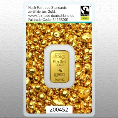 Fairtrade Barren Gold 5 g Goldbarren 999,9