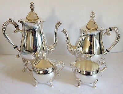 Vintage Elegant Silver Plate 4 Piece Tea & Coffee Set - Unused