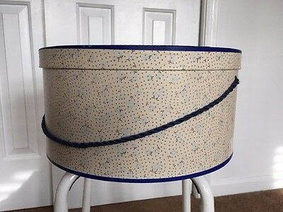 "Vintage Hat Box Delicate  Floral 14"" Diameter  Braided Rope Handle"