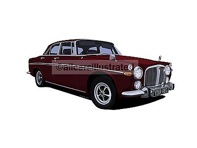 Rover P5B Coupe Car Art Print Picture (Size A4). Personalise It!